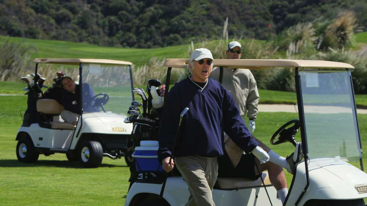Larry David Jeff Greene and Funkhouser golf carts